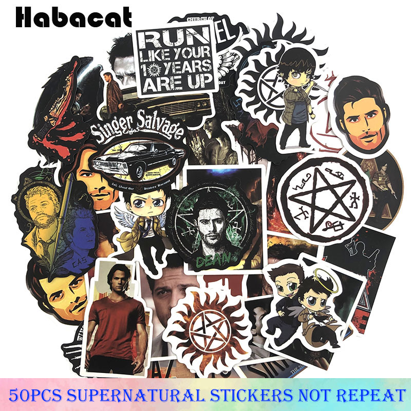50Pcs/Set Supernatural Graffiti Stickers American TV Series Stickers Gifts Toys For Children DIY Skateboard Laptop Car Phone