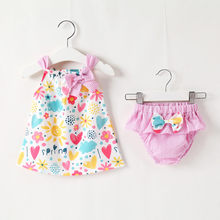 Summer small fresh children's suit baby sleeveless cartoon flower love print top + striped bow shorts set детская одежда 40*(China)