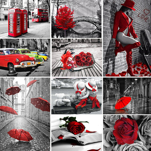 5D DIY Diamond Painting Full Square Red And Black Series Home Decoration Embroidery Handcraft Art Kits
