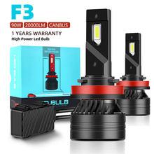 F3 90W H7 Led Canbus 20000LM High Power Scheinwerfer H1 H4 H8 H11 9005 9006 Hb3 9004 9007 H13 9012 Led-lampe Turbo Lampe Für Auto 2PCS