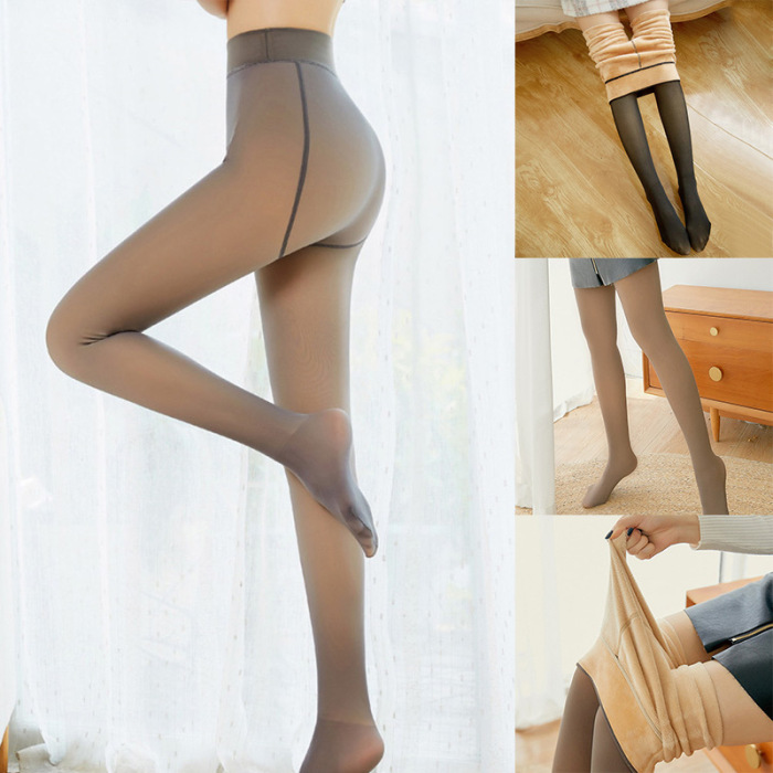 Leggings Women 2020 High Quality Legs Fake Translucent Warm Fleece Slim Stretchy For Winter Outdoor Women Ropa Mujer 23