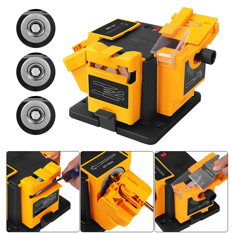 96W/65W Grinder 3 In1 Multifunction Knife Sharpener Machine Set US/EU Household Electric Grinding Sharpener For Scissor Drill