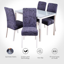 Funda de silla geométrica elástica Funda para silla de comedor de spandex estilo europeo Anti-sucio Retirable 1/2/4/6 piezas
