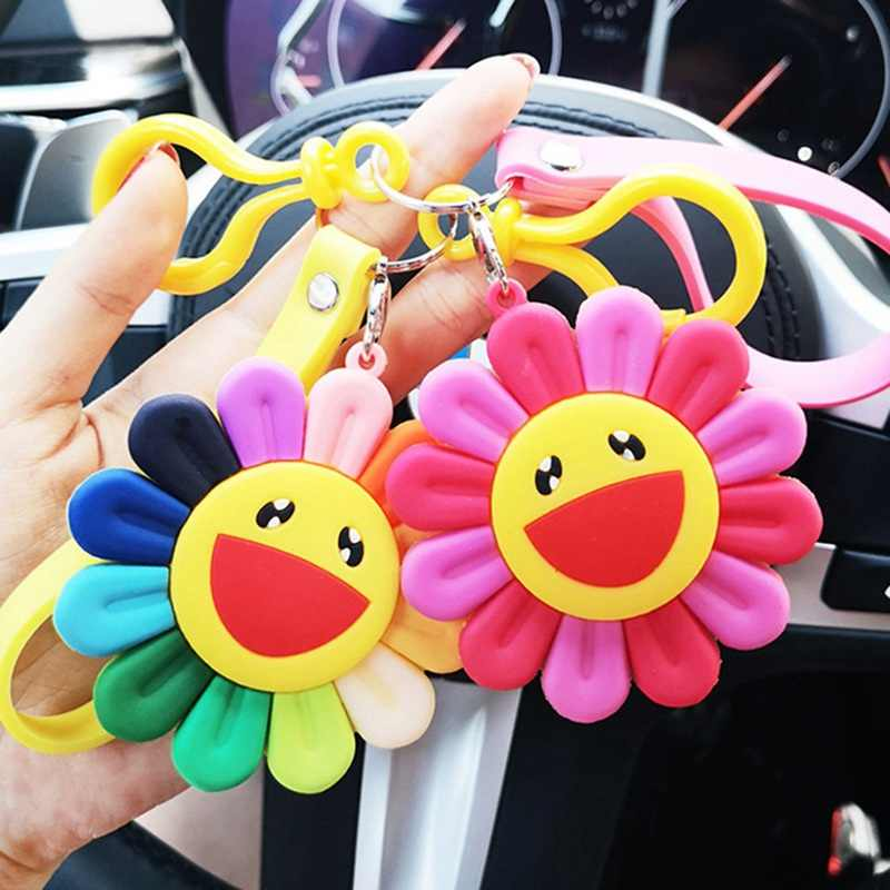 1 Pcs Wanita Gantungan Kunci Fashion Manis Bunga Matahari Gantungan Kunci Lucu Colorfulflowers Tas Dekorasi Liontin Wanita