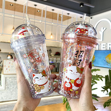 Creative Lucky Cat water bottle with Straw pink cute Ice Cup for kids girls Double wall Drinking Cup for christmas gifts ZCM15#