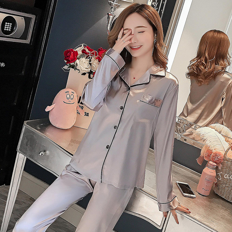 Liang Xing-Double Long Viscose Women's Solid Color Pajamas Suit M-5xl