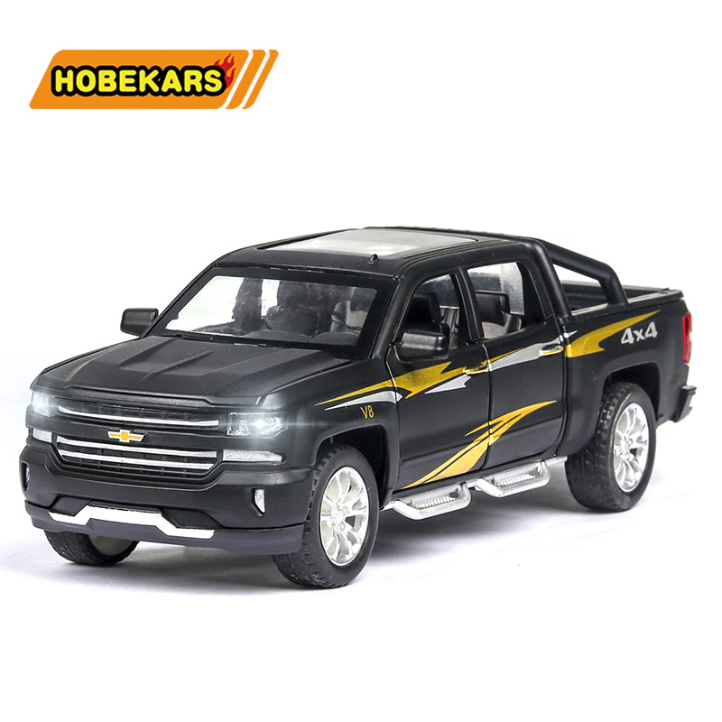 Diecast Car <font><b>Chevrolet</b></font> Silverado Truck 1:32 Model Simulation Metal Alloy Pull Back Toys Collection Gifts For Kids Children image