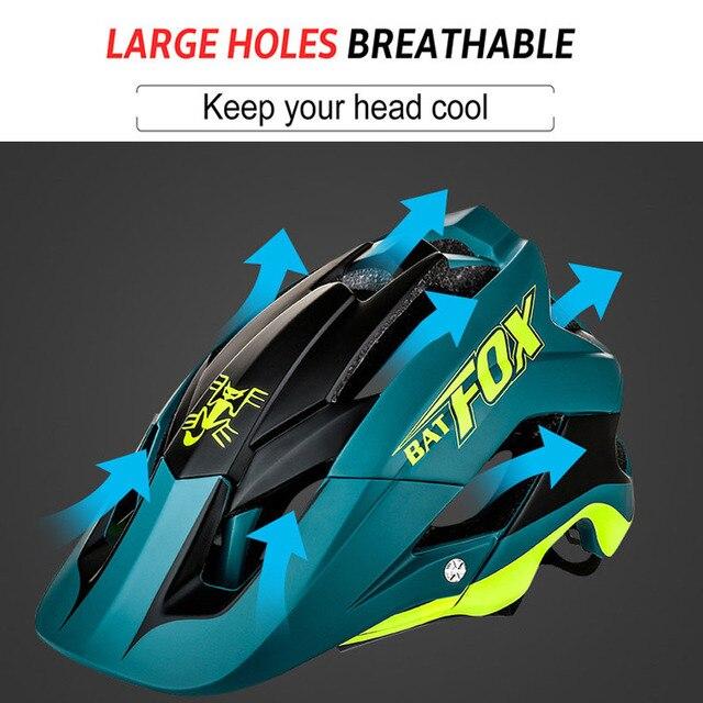 Batfox capacete de bicicleta preto fosco, capacete de ciclismo mtb mountain bike, tampa interna, capacete da bicicleta 2