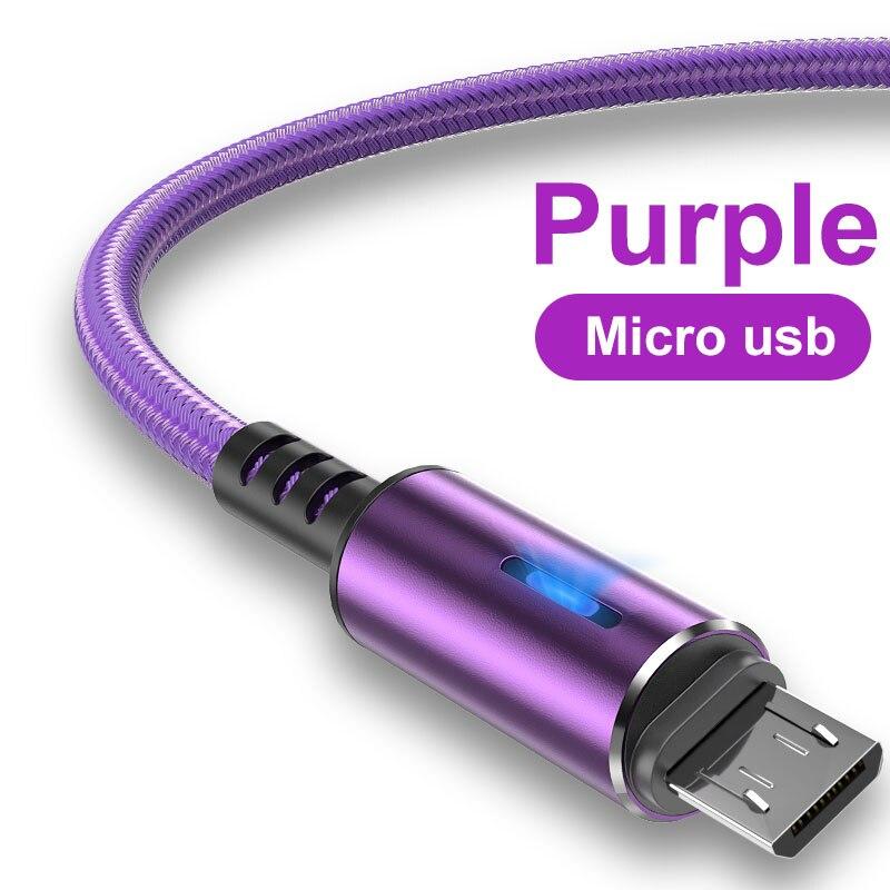 Микро USB кабель 3A LED Быстрая зарядка микро кабель для передачи данных для Huawei Samsung Xiaomi Android Мобильный телефон Аксессуары зарядное устройство ...