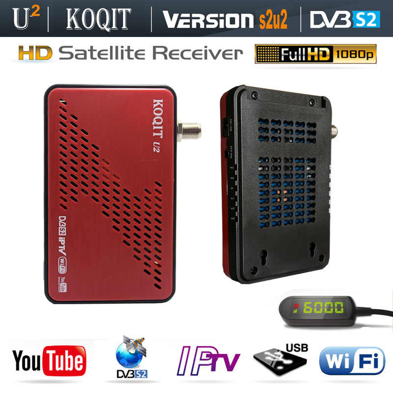 Koqit U2 DVB-S2 Receptor Decoder Tv Tuner Dvb S2 Wifi/RJ45 Scam /Newcam Satellietontvanger Iptv Combo Youtube biss Vu Hd Tv Box