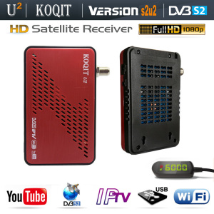 Koqit U2 DVB-S2 Receptor Decoder TV Tuner DVB S2 wifi/RJ45 Scam /Newcam Satellite Receiver IPTV Combo Youtube Biss Vu HD TV Box(China)