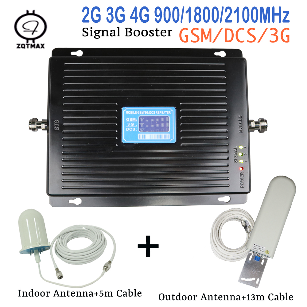 ZQTMAX 75dBi 900 1800 2100 Tri Band 2g 3g 4g Repeater Gsm Mobile Signal Booster UMTS Data Lte Cellular Amplifier And Antenna Set