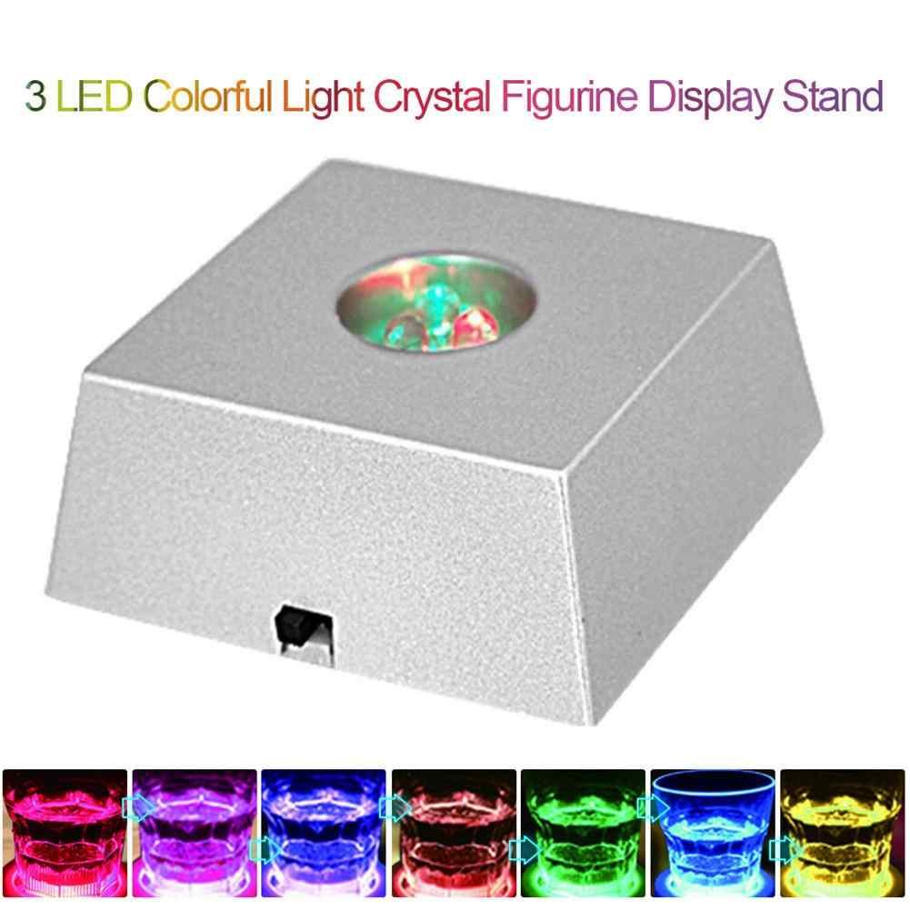 3 LED حجر قاعدة عرض ضوء متغير ملون كريستال برج ضوء ديكور المنزل تمثال عرض موقف دون بطاريات