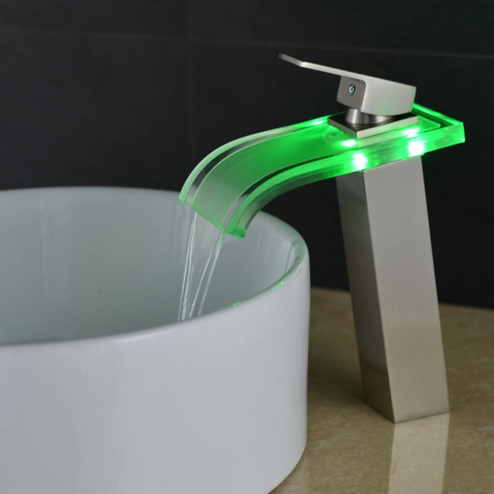 Vidric robinet haut brosse Nickel bassin salle de bain cascade LED robinets verre cascade laiton salle de bain mitigeur pont monté ELS40 - 5