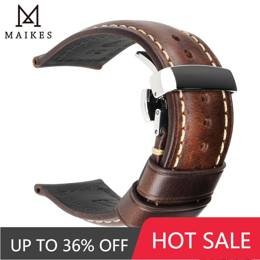 Maikes Handmade Genuine Leather Watchbands 18mm 20mm 22mm 24mm Universal Butterfly Buckle Watch Strap