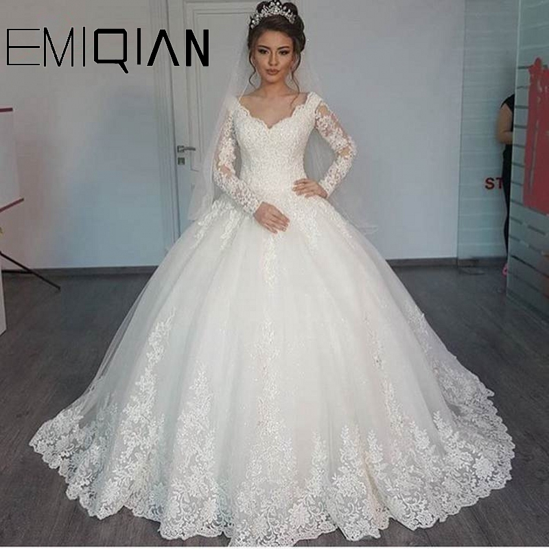 New Romantic V-neck Elegant Princess Wedding Dress Long Sleeves Appliques Celebrity Ball Gown Vestido De Noiva