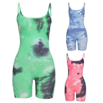 цена на Women Spaghetti Strap Ribbed Bodycon Jumpsuit Tie-Dye Backless Tie Shorts Romper 83XF