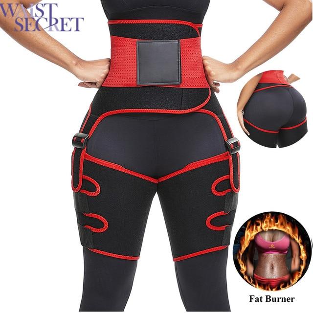 WAIST SECRET Women High Waist Thigh Trimmer Neoprene Sweat Shapewear Slimming Leg Shapers Adjustable Waist Trainer Slimming Belt