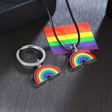 Modyle Cute Colorful Rainbow Pendant Stainless Steel Necklace Long Chain Sweetheart For Women Man Girl Egirl Aesthetic Jewelry