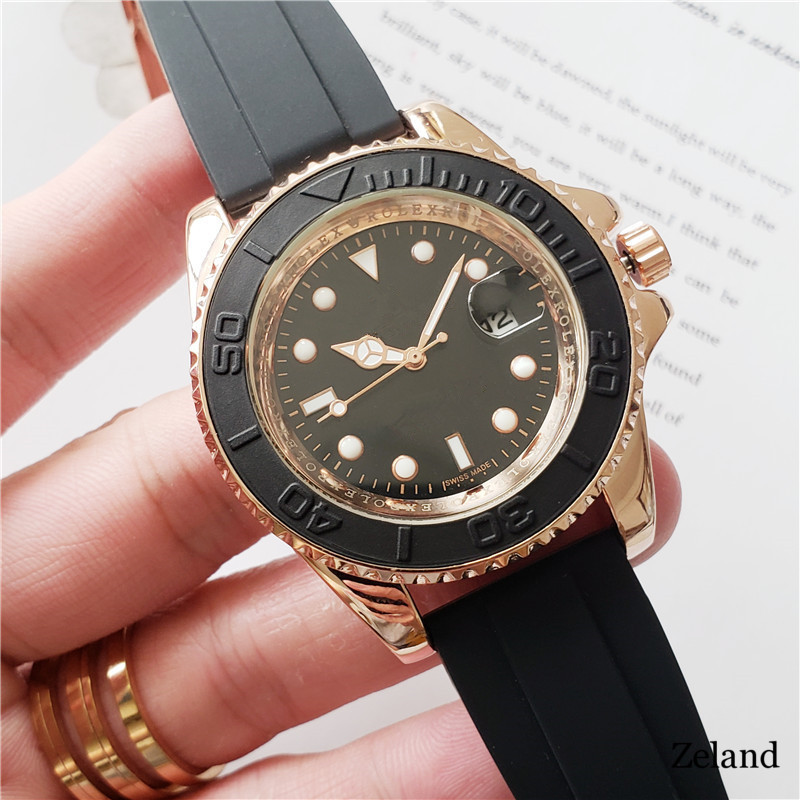 Mens Watch YACHT MASTER 40mm Rubber Rose gold Automatic Mens Stainless Steel Watches Wristwatch free shipping