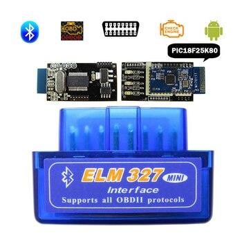 Elm-327 scanner obdii, super mini elm327 bluetooth v1.5 obd2 ferramenta de diagnóstico do carro elm 327 v 1.5 para andriod chip pic1825k80 real