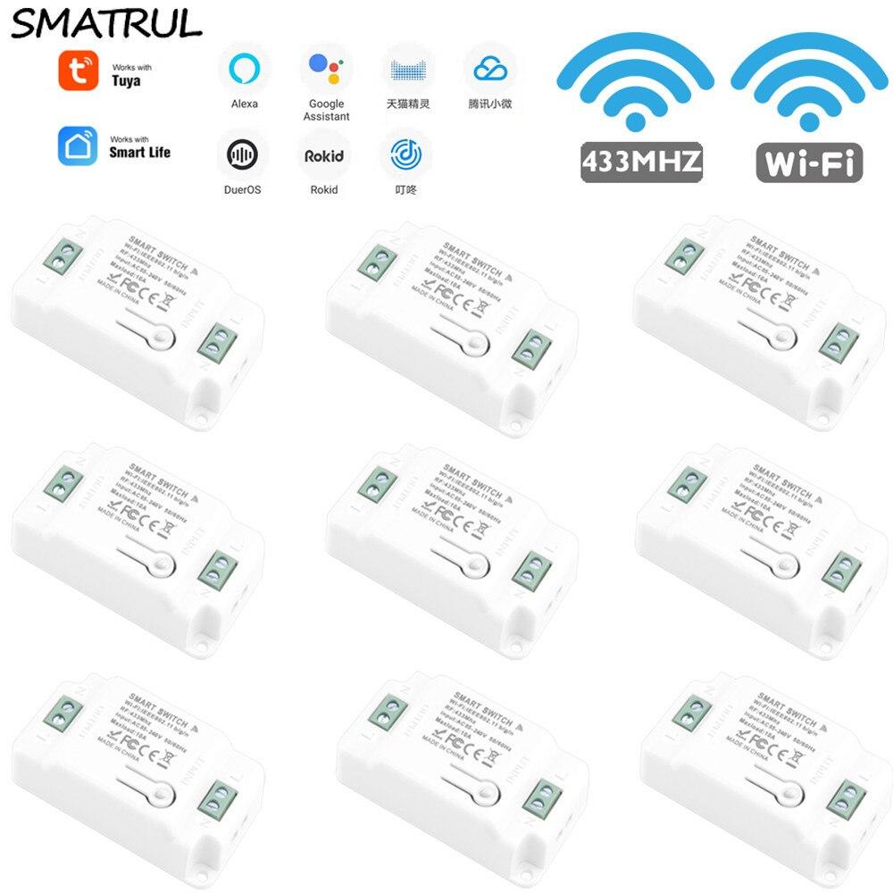 SMATRUL Tuya Smart Life Home приложение Wi-Fi + RF 433 МГц переключатель светильник стены реле Таймер модуль голосового Google Home Alexa 110V 220V 10A лампа