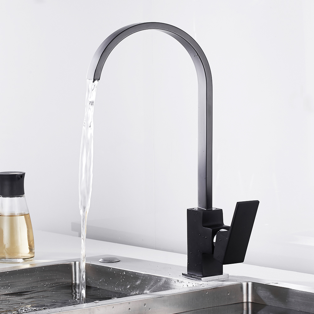 Modern Kitchen Mixer Tap Basin Sink Faucet Brass Swivel Square 360 Degree Rotation Hot And Cold Water Black Single Handle Hole