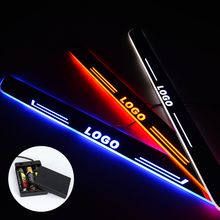 LED Door Sill For Peugeot 408 2015 2016 2017 2018 Streamed Light Scuff Plate Acrylic Battery Car Door Sills Accessories led door sill for suzuki swift 2015 2016 2017 2018 streamed light scuff plate acrylic battery car door sills accessories