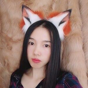 Image 5 - MMGGใหม่Golden Red Foxหูหมาป่าและแมวฟ็อกซ์หูผมHoop Headwearหางสำหรับสาวผู้หญิงคุณภาพสูง