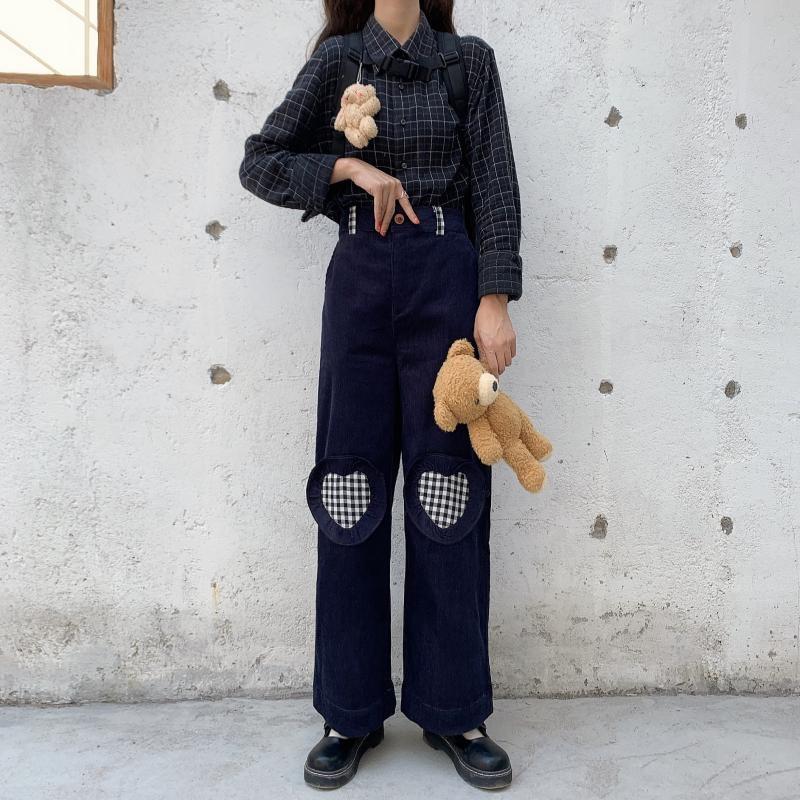 Focal20 Streetwear Heart Plaid Patchwork Corduroy Women Pants Elastic Waist Vintage Lady Trousers High Waist Autumn Lady Bottoms 1