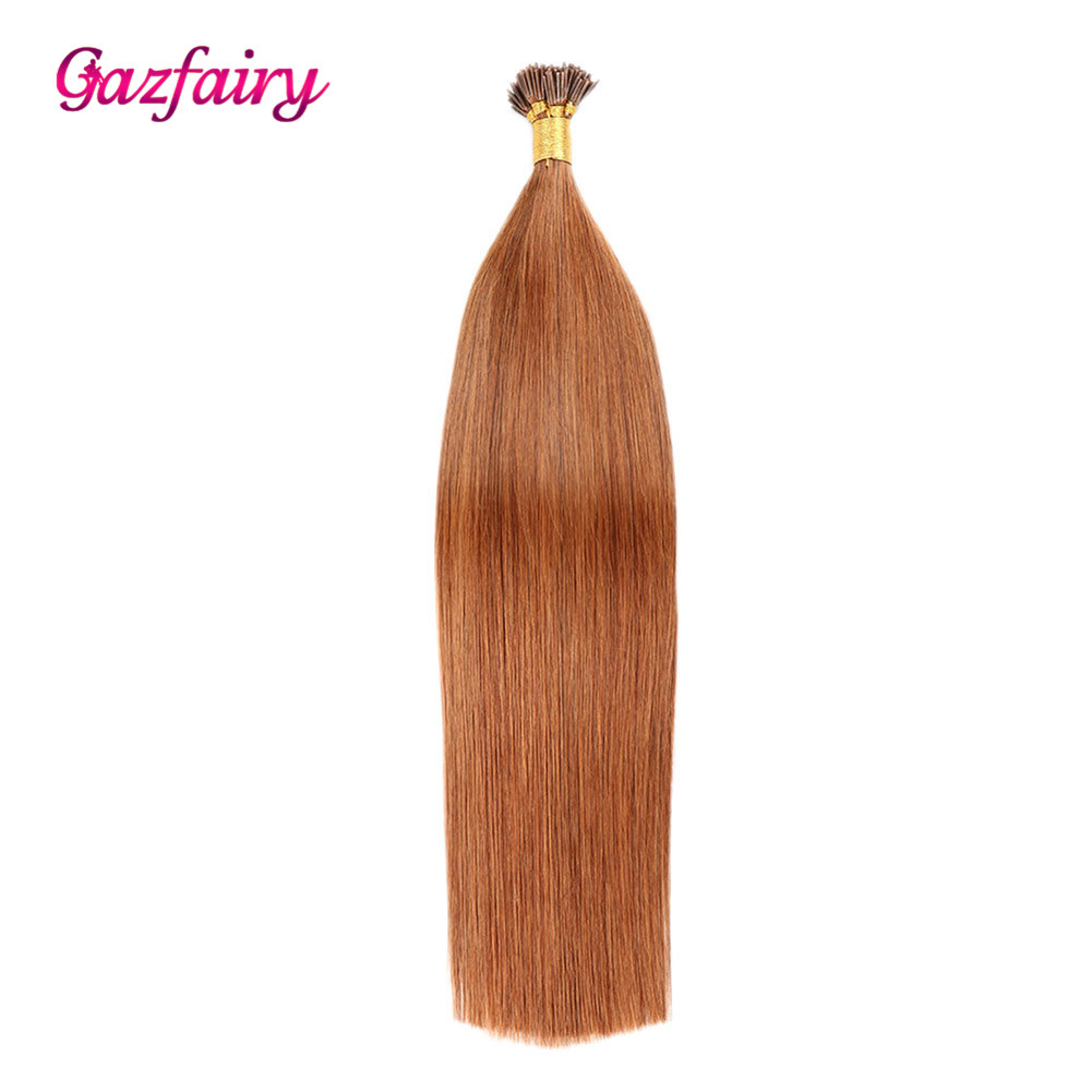 Gazfairy I Tip Stick Keratin Hair Extensions 16''-22'' 100 Strands Silky Straight Real Remy Human Hair Pre Bonded Fusion Hair