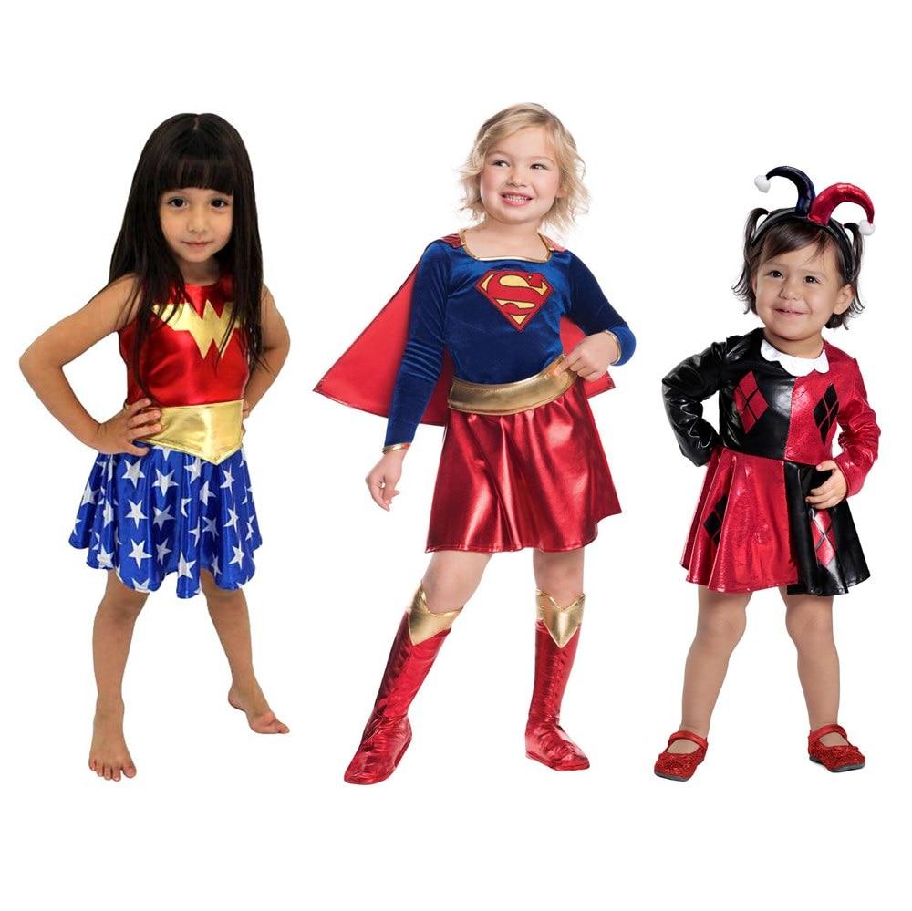 SuperHero Girls Costume for Kids TuTu Dress  Halloween Costume (3-9Years) WonderWoman Girls Party Dress