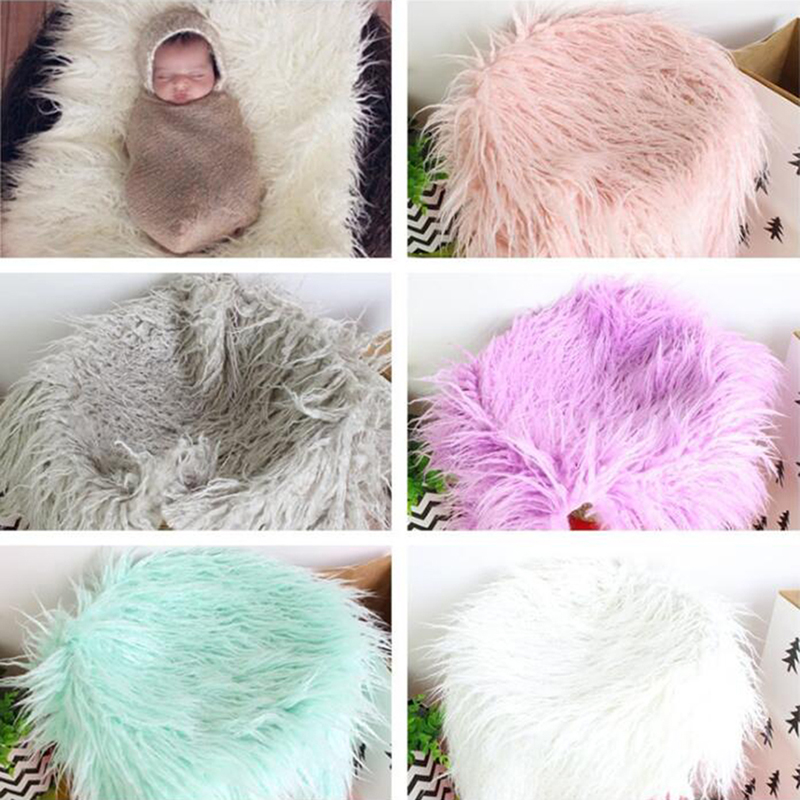 Newborn Photography Props Soft Baby Fur Blankets Faux Fur Background Blankets Cute Infant Kids Towel