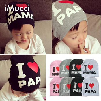 iMucci 1Pcs Print Cartoon I Love Mama Papa Baby Hat New Spring Autumn Knitted Warm Cotton Beanie Hats for Kids Girl Boy
