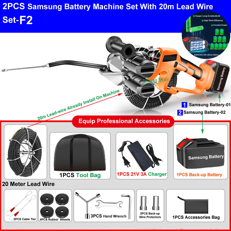 H20c20ef5d4414192983370cbff5aaf98a - Two Brushless Motor Samsung Li Battery Electric Wire Cable Leading Machine Artifact Wire For Electrician Cable Install
