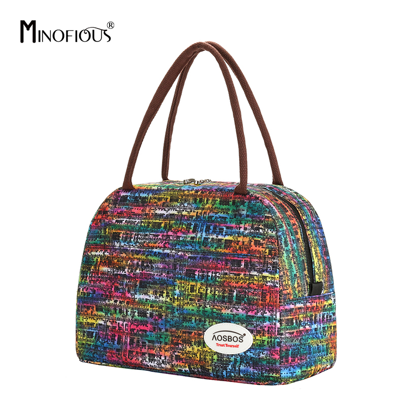MINOFIOUS Print Insulated Lunch Bag Portable Canvas Thermal Food Picnic Lunch Bags Cooler Lunch Box Bag Tote For Women Men Kids