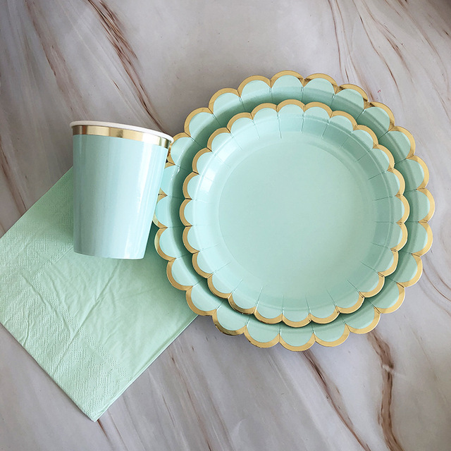 Cups for Birthday Theme Party Supplies Decorations Mint Green Bronzing Gold Party Supplies Set for 20 Guests Disposable Dinnerware Set Including Dinner Plates Lunch Napkins Dessert Plates