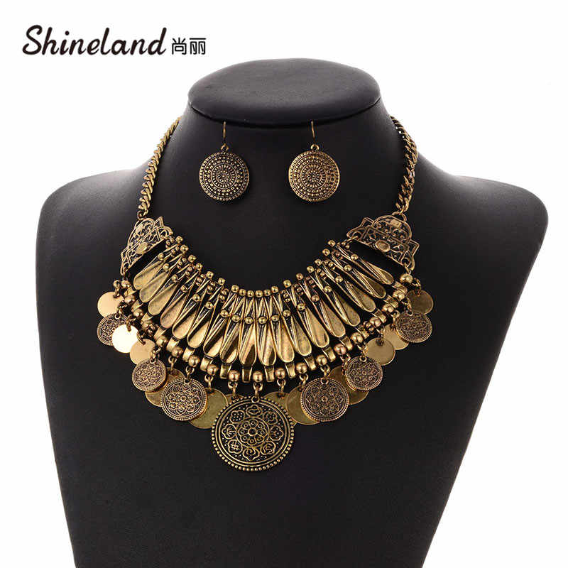 Shineland Boho Antique Coin Jewelry Set for Women African Statement Tibetan Tassel Bohemian Maxi Necklace Earrings Women Cheap