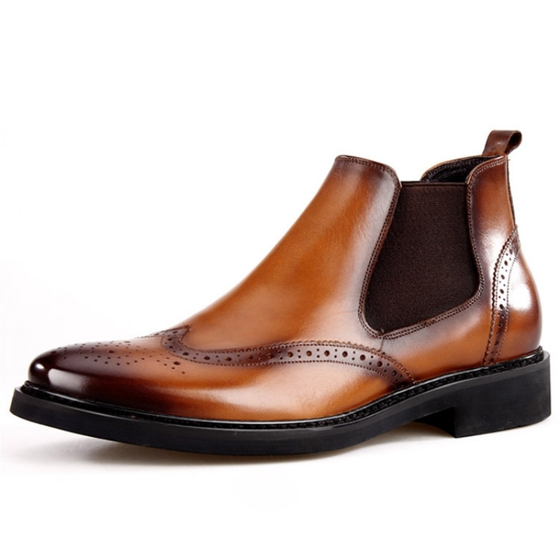Luxury Brand Men Chelsea Boots Vintage Slip On Thick Heels Brogues Ankle Boots High Quality Genuine Leather Motorcycle Boots