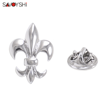 SAVOYSHI Classic Silver Lotus Shape Men Lapel Pin Brooches Pins Fine Gift for Mens Collar Party Engagement Jewelry