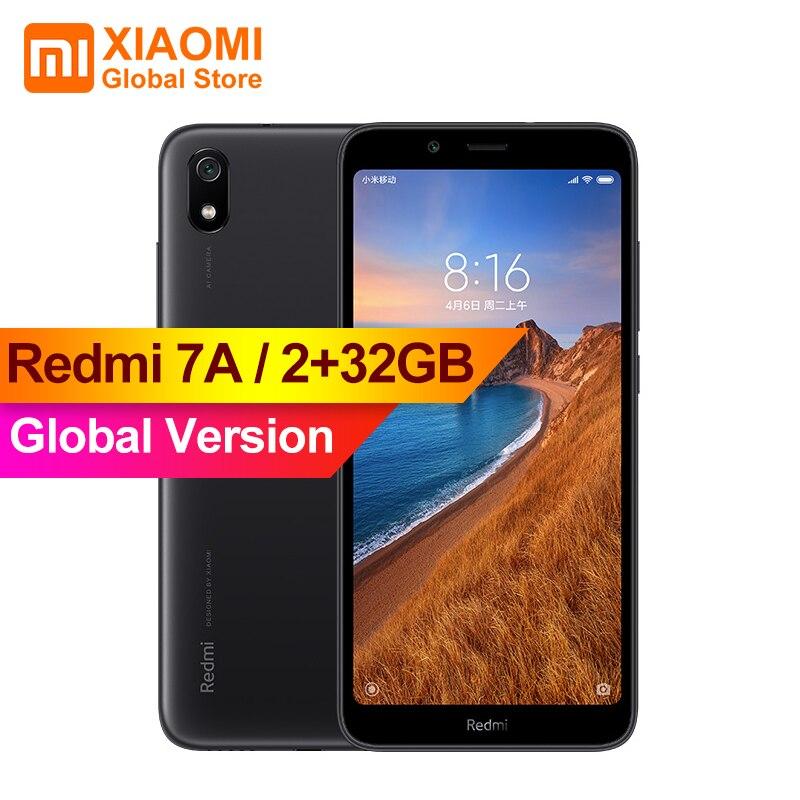 Versión Global Original Xiaomi Redmi 7A 7 2GB 32GB teléfono inteligente 4000mAh batería de larga vida AI cara desbloquear Octa Core 5,45