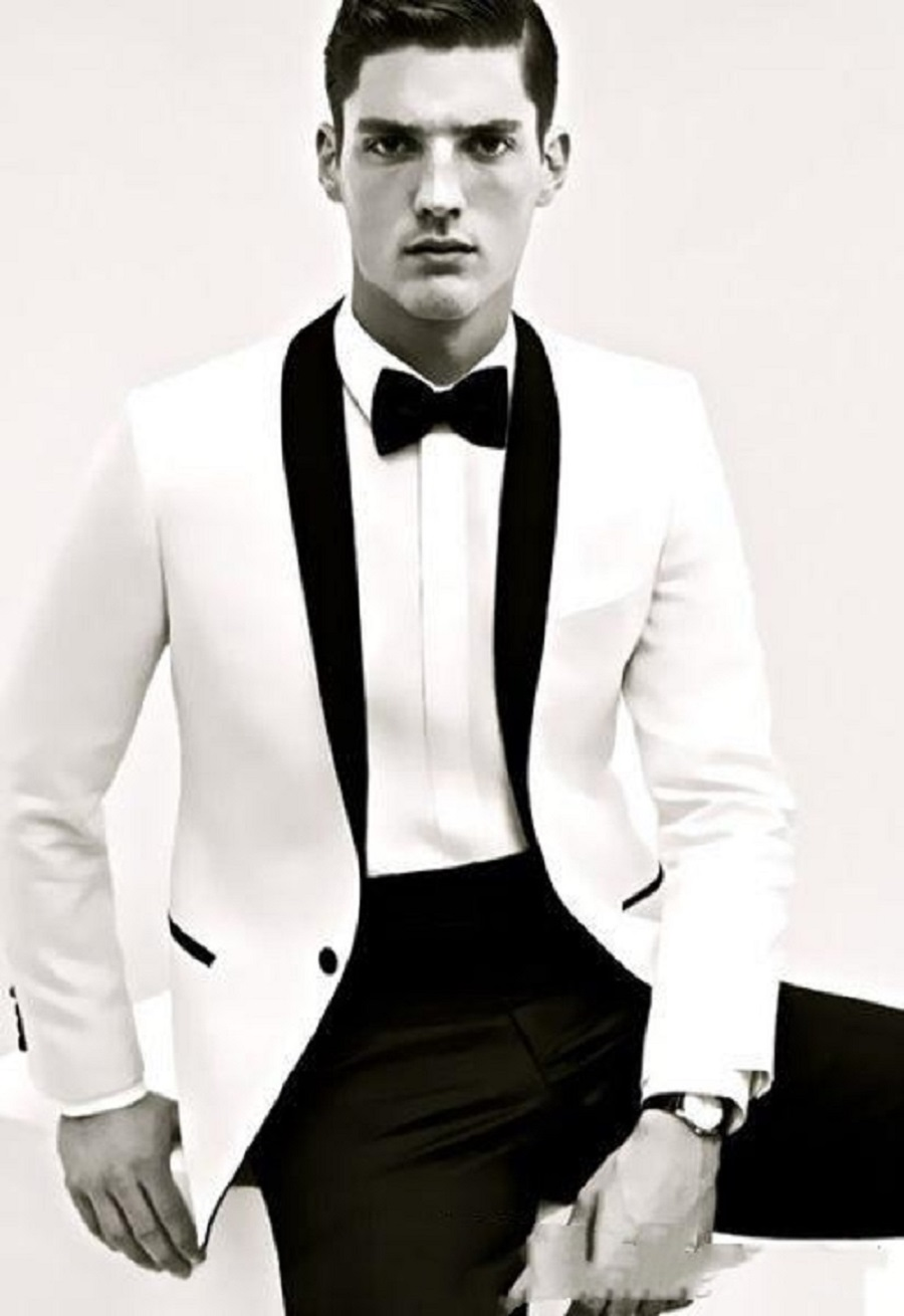 Ivory With Black Shawl Lapel Men Suits Groom Wedding Tuxedos 2020 Fitted Slim Groomsmen Suit (Jacket+Pants+Bow)