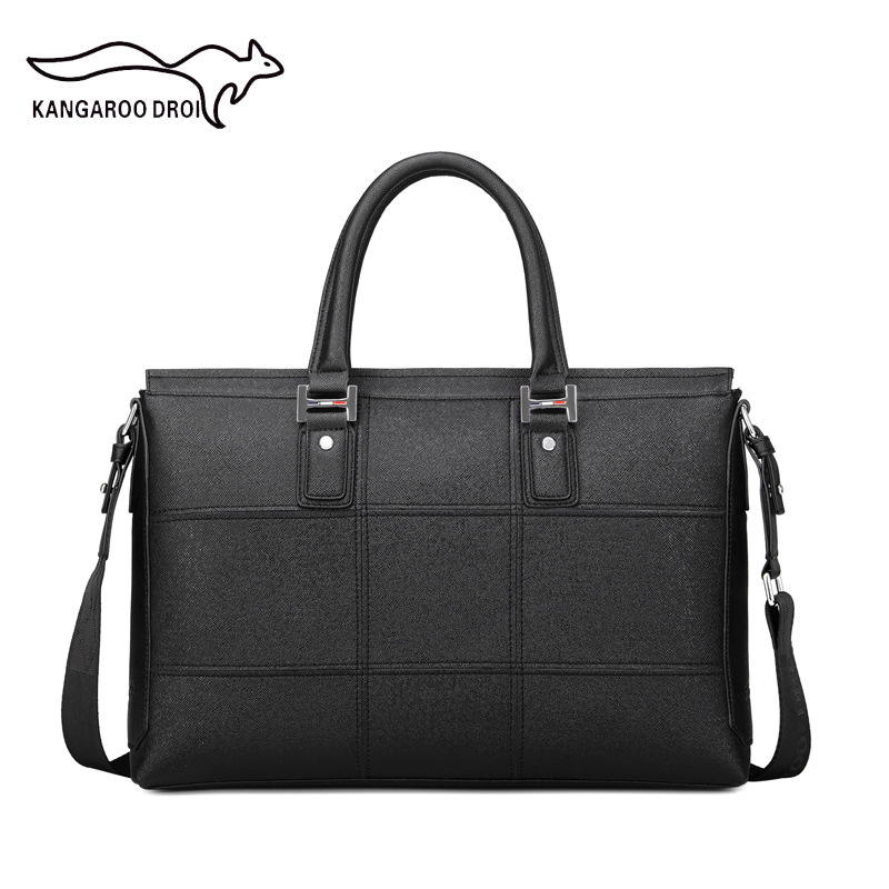 Micro for New Style Daishu Imported Microfiber Business Handbag MEN'S Briefcase Nine Squares Shoulder Bag a Generation of Fat