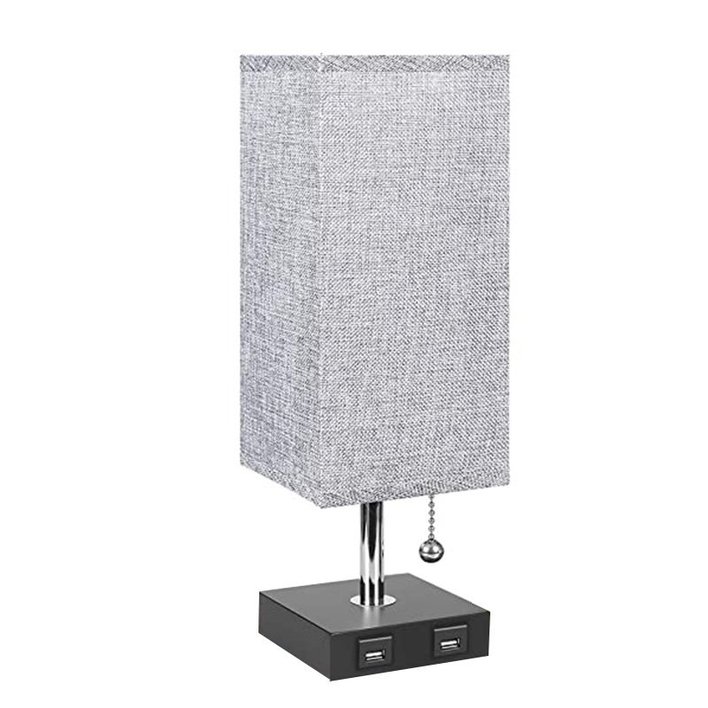 USB Bedside Grey Square Fabric ShadeTable Lamp Modern Table & Bedside Lamp with 2 Useful USB Quick Charging Port