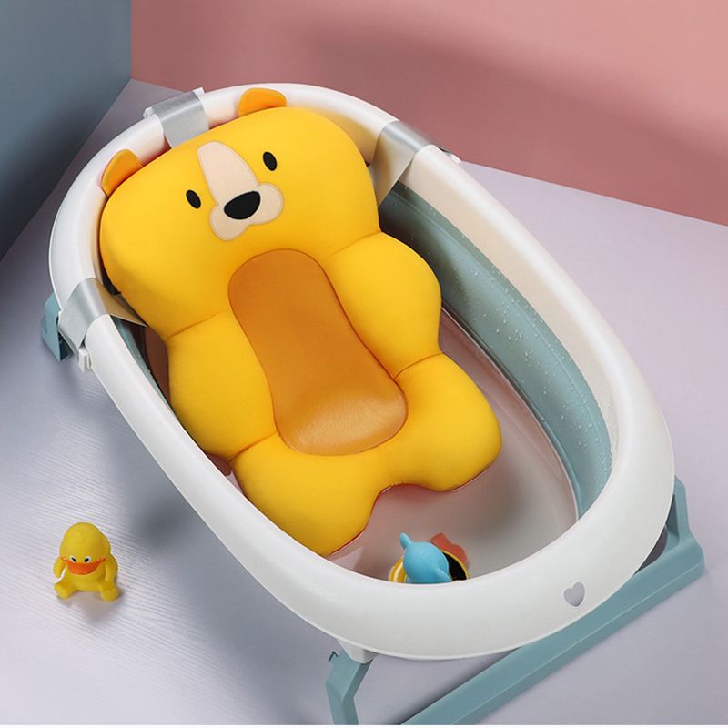 Baby portable baby bath bathtub mat non-slip bathtub mat newborn safety safe bath support cushion foldable soft pillow
