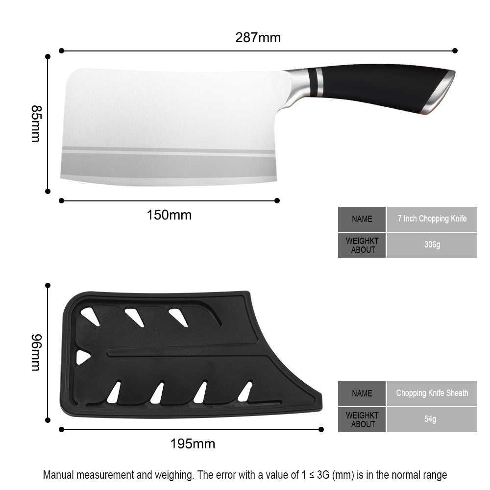Sowoll cutelo de aço inoxidável 7 Polegada faca de corte alta qualidade abs lidar com cutelo faca de corte com presente livre bainha