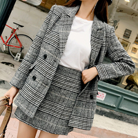 2019 Women Plaid Blazers Mini Skirt Two Pieces Sets Elegant Women Plaid Skirt Suits Spring Blazer