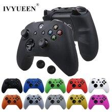 IVYUEEN for Microsoft Xbox One X S 슬림 컨트롤러 실리콘 스킨 케이스 + 아날로그 엄지 스틱 그립 캡 X 박스 용 1 X S 게임 패드
