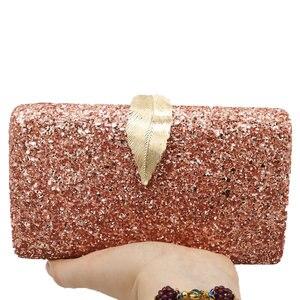 Image 5 - Boutique De FGG Pink Glitter Women Clutches Evening Bags Leaf Clasp Ladies Fashion Chain Shoulder Crossbody Handbags and Purses