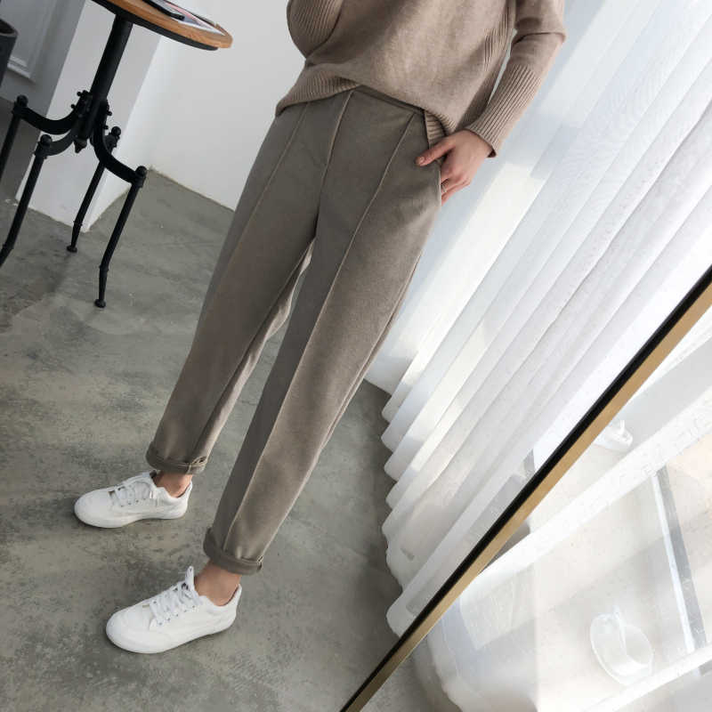 OL Style Tight Women Skinny Pants Plus Size Wool Female Work Suit Pants 2019 Autumn High Waist Loose Women Capri Pants
